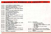Programme du Samedi 29 juillet 1961