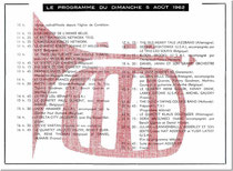 Programme du samedi 4 Août 1962