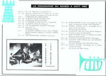 Programme du Dimanche 5 Août 1962