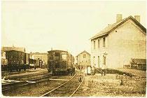 La gare de Clavier la ligne SNCV et un convoi