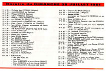 Programme du Dimanche 30 juillet 1961