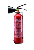 GLORIA Kohlendioxid Feuerlöscher KS 2 (Stahlbehälter). 2 kg Löschinhalt (Löschmittel CO²). Löschkraft (Rating): 34B= 2 LE (Löschmitteleinheiten). Brandklasse B. Funktionsbereich -30°C bis + 60°C.
