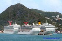 Carnival Glory, Miracle und Costa Fortuna- St. Maarten