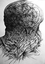 Au Front/fusain sur papier/100x70cm/2014