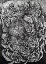 """""""Au Coeur""""/fusain sur papier/100x70cm/2013."""