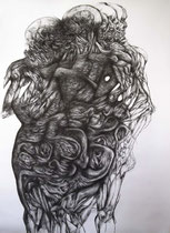 """""""Absent""""/fusain sur papier/180x130cm/2013."""