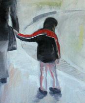 Kind an Hand, Öl auf Baumwollgewebe, 100 x 120 cm, 2006