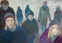 Spaziergang, Öl auf Baumwollgewebe, 70 x 100 cm, 2004/ 2005