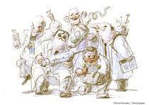 5人の科学者たち/ガンリキ、ジゴクミミ、ドクゼツ、ハナイキ、テザワリの仲良し5人組。小学4年時に「ミミズとキュウリの混血生物」が全国ジュニア発明コンテストで文部大臣賞をもらったのを機に「少年科学倶楽部」を結成。現在もアマチュア研究者グループとして、廃墟の喫茶店を拠点に怪しげな生体実験を続けている。