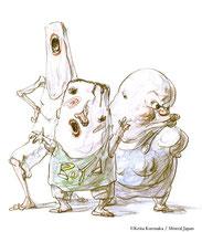 棒田さん一家/(右)おばちゃん:おせっかいな主婦で愛称は「チューたこママ」。 (中)ボーヤ:おばちゃん夫妻の息子 (左)棒田さん:自称「詩人」でおばちゃんの夫。