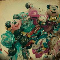 vintage style balloon photo, joy of children, retro style, kids, smile, freedom