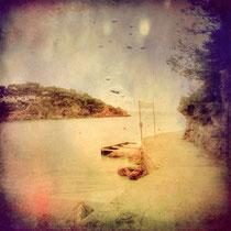 vintage style photo, textured, seascape of Begur, Costa Brava, Catalunya