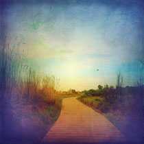 vintage style photo, textured traditional path into the beach, Gavà, Barcelona