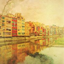 vintage style photo, handpainted buldings on the Oñar river, in Gerona, Catalunya