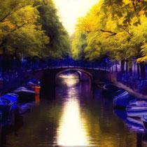 vintae style photo, handpainted city secene with bridge of Amsterdam, Holland