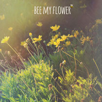 vintage style photo, textured, bee my flower, retro style photo