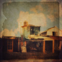 vintage style photo, textured and handpainted fisherman house in Cabo Polonio, Uruguay