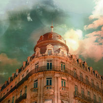 vintage style photo, textured old buliding in Montpellier, France