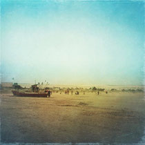 vintage style photo, beach and boat of Cabo Polonio in Rocha, Uruguay