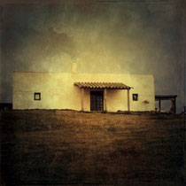 vintage style photo, handpainted traditional house in cabo Polonio, Uruguay