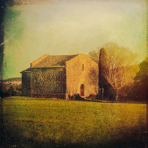 vintage style photo, handpainted and textured, traditional stone house of the countryside in Catalunya