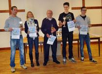 Gesamt-Punkt-Beste: v.l. Dennis Ulbrich, Kathrin Bensemann, Wilhelm Vogt, Guido Wilsdorf, Marcel Quentin