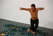 Spent #1, 2009: disruption - Tony Yap (used shotgun shells, industrial rubber relief body stamp, pastel pigment)