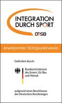 Wir sind anerkannter Stützpunktverein im Programm Integration durch Sport. Ohne diese Unterstützung wäre unser Projekt nicht möglich!