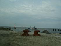Bau des Schlepperhafens