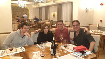 "Having dinner with the ""Paris, Wine & Romance"" cast: Dan Jeannotte, Jen Lilley and director Alex Zamm on location in Bulgaria 2019."