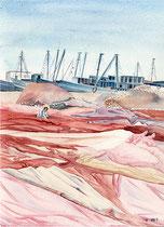 PECHEURS -aquarelle 31x41 - Le port d'Essaouira
