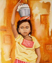 HANUMAN -huile 46x38- offrande au Dieu singe à Hampi