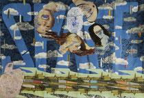 """""""Spaceboy - Hommage an David Bowie"""" - Elemente auf Papier - 100 x 70 cm"""