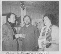 Lesung von Gerlinde M. P.  im Atelier Franz Haas 1995  - am Foto mit  Helmut Pacholik (links),  Franz  Haas +