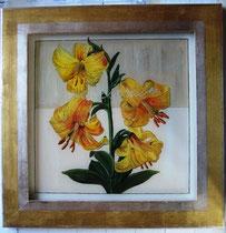 Blumenbild - echter Gold - Silberrahmen