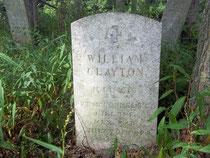 This government headstone marks the grave of William Clayton Jr., who died serving in the Mexican War.
