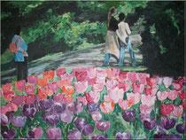 """Im Blumenpark.Koekenhof, Holland"", Acryl, 40x50 cm, 120 €"