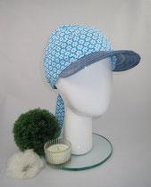 Bandeau blumig türkis, Material reine Baumwolle, am Hinterkopf mittels Knoten auf Kopfgröße eingestellt, Preis: 39,90 €