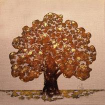Rusty tree 11-acrylique et patines rouille et vert de gris sur toile de jute-80 cm x 80 cm - disponible