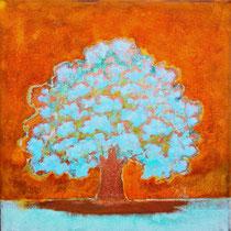 Rusty tree 10-acrylique et patines rouille et vert de gris sur toile de jute- 80cm x 80cm - disponible