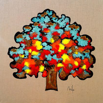 Rusty tree 2 - acrylique et patines rouille et vert de gris sur toile de jute - 100x100cm - disponible