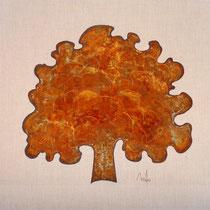 Rusty tree 4-acrylique et patine rouille sur toile de jute -100x100cm