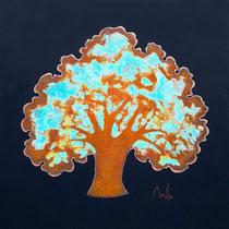 Rusty tree 6-acrylique et patines rouille et vert de gris sur toile de jute- 80cmx80 cm -  disponible