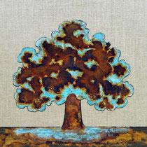 Rusty tree 3-acrylique et patines rouille et vert de gris sur toile de jute - 40cm x 40cm - disponible