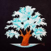 Rusty tree 1- acrylique et patines rouille et vert de gris sur toile de jute - 70x70cm - disponible