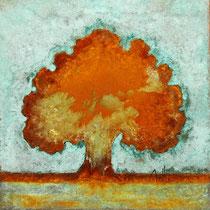 Rusty tree 5-acrylique et patines rouille et vert de gris sur toile de jute- 40cmx40cm - collection particulière