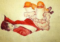 Wally in roter Bluse mit erhobenen Knien mit Ehering nach Egon Schiele, Gouache, Aquarell und Bleistift, 32X48 cm 260 €