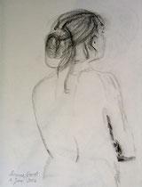 Geduldige Frau, Bleistift auf Papier,