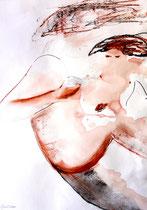 Erotisch, Tusche und Kreide und Kohle auf Papier, 34x47 cm, mit Rahmen 53x63 cm, 260 €
