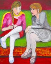 Gedankenaustausch, Acryl auf Leinwand, 80 x100 cm, 450 €
